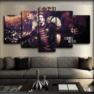 Barcelona - Messi Celebrating Goal - Canvas Monsters