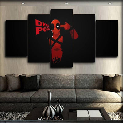 Dead Pool - Head Shot Art Work Black Background - Canvas Monsters
