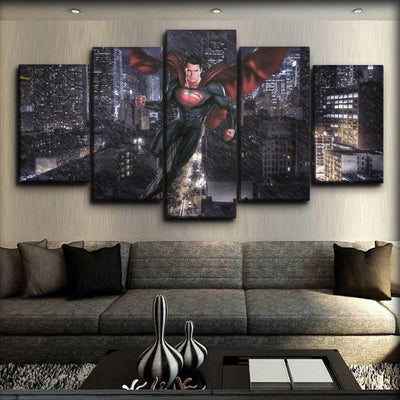Superman - Elevating In The Rain - Canvas Monsters