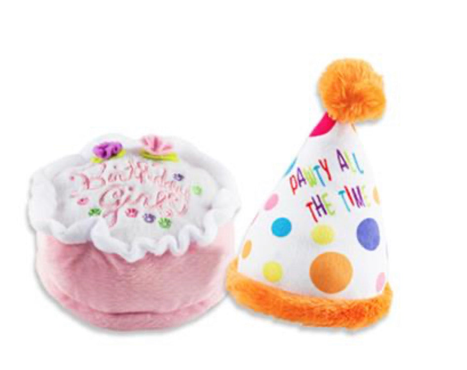Girls Birthday Cake & Party Hat Celebration Set