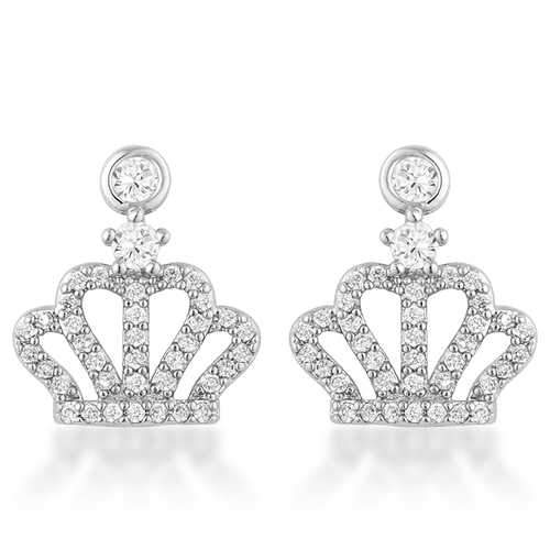 0.5 Ct Rhodium Crown CZ Earrings-JewelryKorner-com