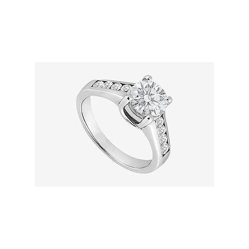 1 carat Center Diamond Engagement Ring in 14K White Gold 1.40 Carat TDW-JewelryKorner-com