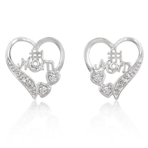 #1 Mom Heart Earrings-JewelryKorner-com