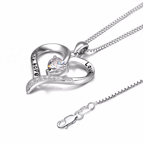 "100% 925 Sterling Silver Love Heart ""Love Faith Hope"" Pendants Necklaces Fashion Jewelry For Women Valentine's Day Gift"