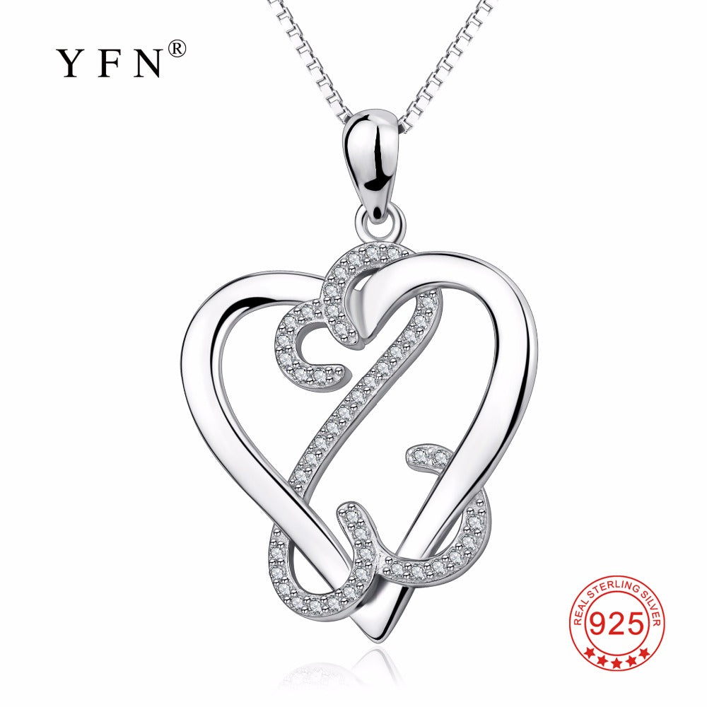 100% 925 Sterling Silver Love Heart Pendants Necklaces Sweet Crystal CZ Fashion Necklace Jewelry For Women GNX14146