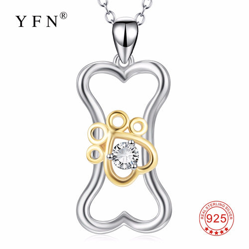 100% Fine 925 Sterling Silver Classic Heart Dog Bone & Paw Pendants Necklaces Jewelry & Accessories Necklace For Women PYX0419