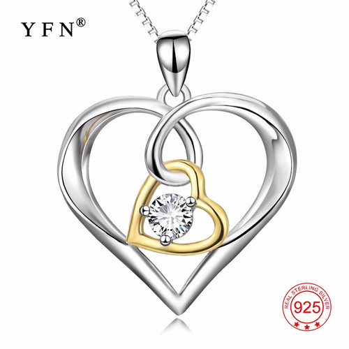 100% Fine 925 Sterling Silver Double Love Heart Luxury Pendants Necklaces Fashion Jewelry & Accesoories For Women PYX0381