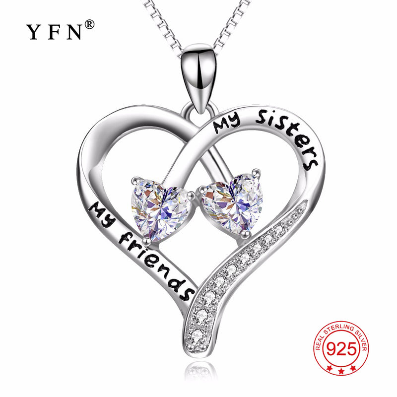 100 fine 925 sterling silver double love heart my sisters my friend aloadofball Choice Image