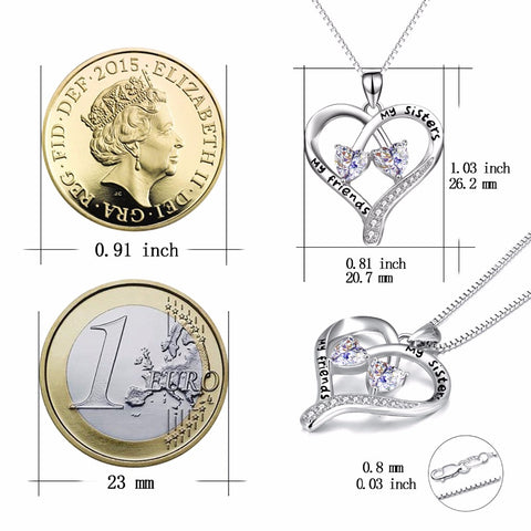 "100% Fine 925 Sterling Silver Double Love Heart ""My Sisters, My Friends"" Pendants Necklaces Fashion Jewelry For Women PYX0094"
