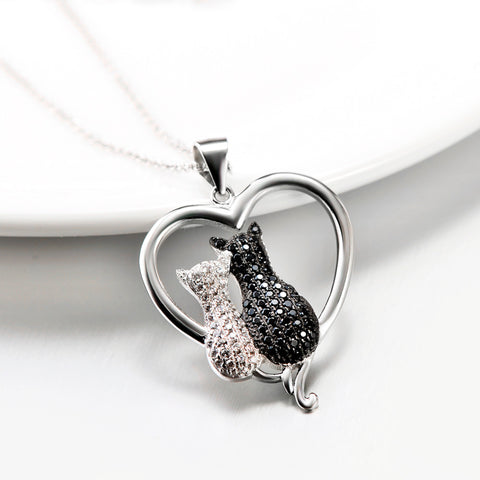 100% Real 925 Sterling Silver Heart Necklace White Black Cubic Zirconia Two Cat Necklaces Valentine's Gift For Women GNX8858