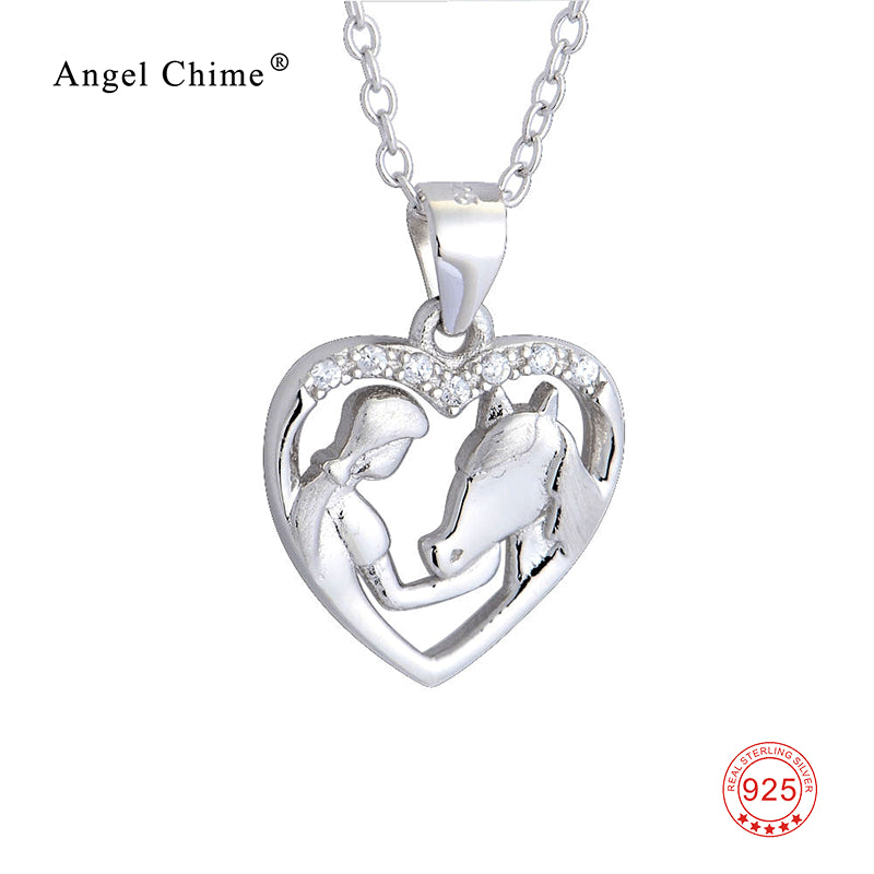 100% Real Pure 925 Sterling Silver Crystal Heart Pendants Necklaces Girl and Horse Jewelry Valentine's Gifts For Women