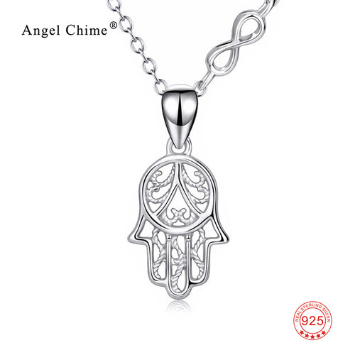 100% Real Pure 925 Sterling Silver Hamsa Hand Necklace Hand Of Fatima Infinity Love Pendants Necklaces Collier For Women PYX0187