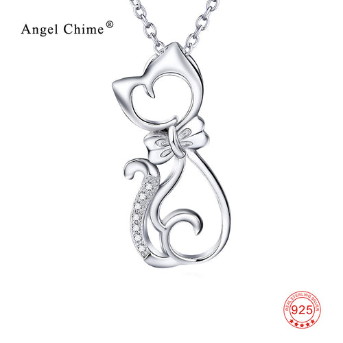 100% Real Pure 925 Sterling Silver Jewelry CZ Crystal Cat Pendants Necklaces Top Quality 925 Silver Necklace For Women GNX0451