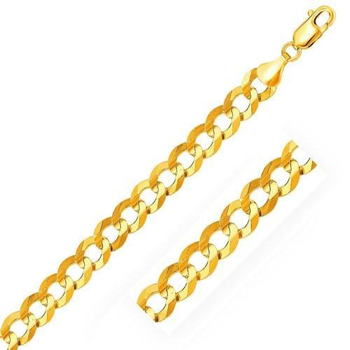 10.0mm 14K Yellow Gold Solid Curb Chain, size 22''-JewelryKorner-com