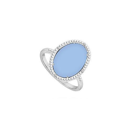 10K White Gold Aqua Chalcedony and Diamond Ring 15.08 CT TGW-JewelryKorner-com