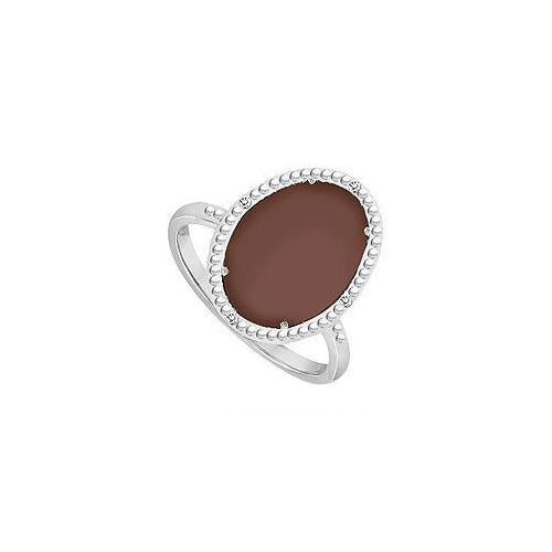 10K White Gold Chocolate Chalcedony and Diamond Ring 15.08 CT TGW-JewelryKorner-com