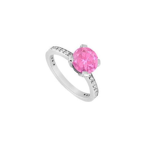 10K White Gold Created Pink Sapphire and Cubic Zirconia Engagement Ring 1.00 CT TGW-JewelryKorner-com