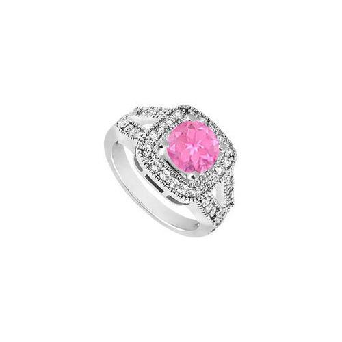 10K White Gold Created Pink Sapphire and Cubic Zirconia Engagement Ring 1.25 CT TGW-JewelryKorner-com