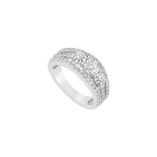 10K White Gold Cubic Zirconia Engagement Ring 2.25 CT TGW-JewelryKorner-com