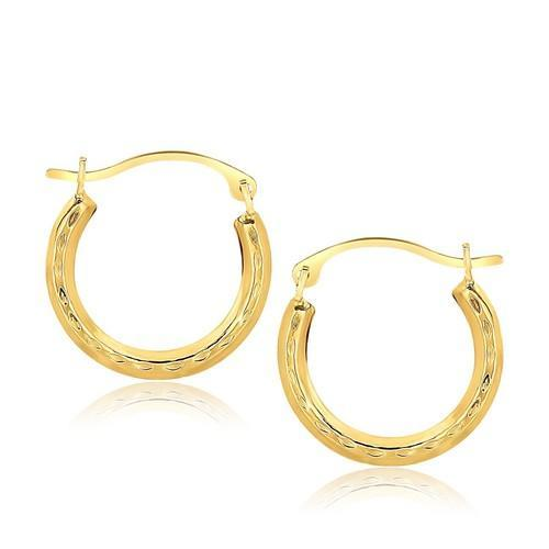 10K Yellow Gold Fancy Hoop Earrings-JewelryKorner-com
