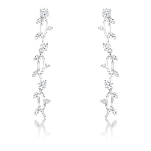 1.1Ct Vine Design Rhodium Earrings-JewelryKorner-com