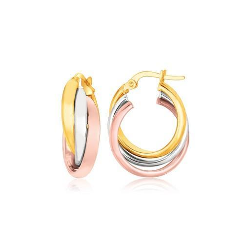 14K Tri-Color Gold Domed Tube Intertwined Earrings-JewelryKorner-com