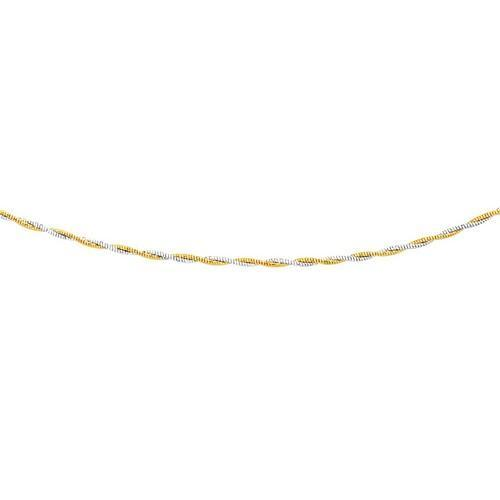 14K Two-Tone Gold Braided Design Double Strand Mirror Spring Necklace, size 17''-JewelryKorner-com