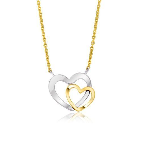 14K Two-Tone Gold Double Heart Necklace, size 18''-JewelryKorner-com