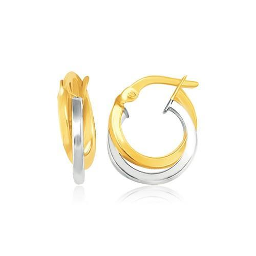 14K Two Tone Gold Earrings in Double Round Hoop Style-JewelryKorner-com