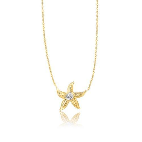 14K Two-Tone Gold Sea Life Starfish Necklace, size 18''-JewelryKorner-com