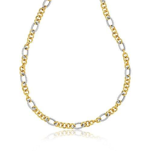 14K Two-Tone Round and Cable Style Link Necklace, size 18''-JewelryKorner-com