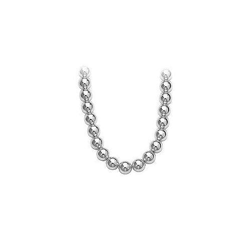 14K White Gold 10mm Bead Necklace-JewelryKorner-com