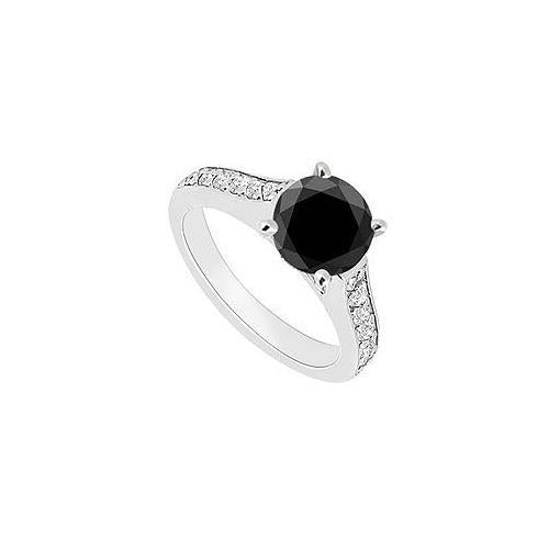 14K White Gold : Black and White Diamond Engagement Ring 0.80 CT TDW-JewelryKorner-com