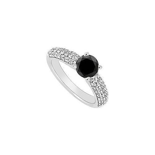 14K White Gold : Black and White Diamond Engagement Ring 1.10 CT TDW-JewelryKorner-com