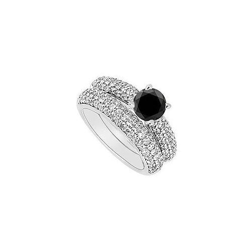 14K White Gold : Black and White Diamond Engagement Ring with Wedding Band Set 1.80 CT TDW-JewelryKorner-com