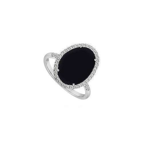 14K White Gold Black Onyx and Diamond Ring 16.00 CT TGW-JewelryKorner-com