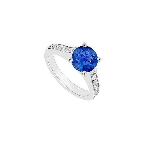 14K White Gold : Blue Sapphire and Diamond Engagement Ring 0.80 CT TGW-JewelryKorner-com