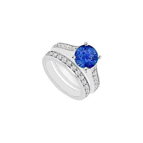 14K White Gold : Blue Sapphire and Diamond Engagement Ring with Wedding Band Set 1.10 CT TGW-JewelryKorner-com