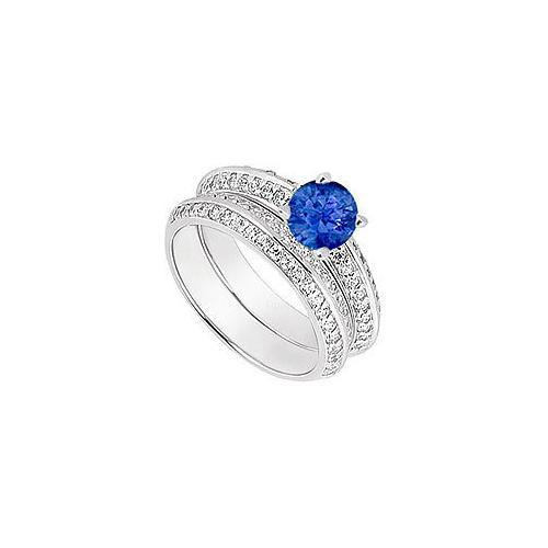 14K White Gold Blue Sapphire & Diamond Engagement Ring with Wedding Band Sets 1.00 CT TGW-JewelryKorner-com