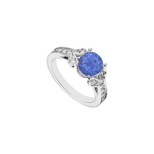 14K White Gold Created Blue Sapphire and Cubic Zirconia Engagement Ring 4.00 CT TGW-JewelryKorner-com