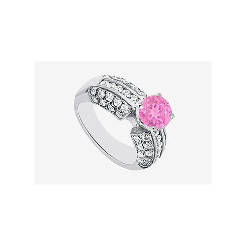 14K White Gold Diamond and Pink Sapphire Engagement Ring 1.80 Carat TGW-JewelryKorner-com