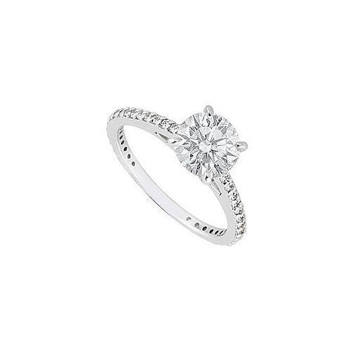 14K White Gold Diamond Engagement Ring 0.85 CT TDW-JewelryKorner-com