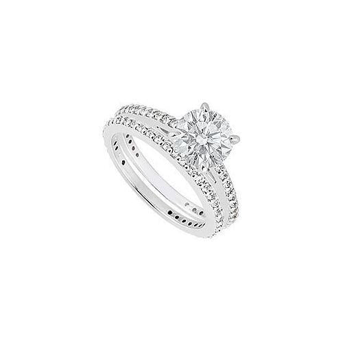 14K White Gold Diamond Engagement Ring with Wedding Band Sets 1.25 CT TDW-JewelryKorner-com