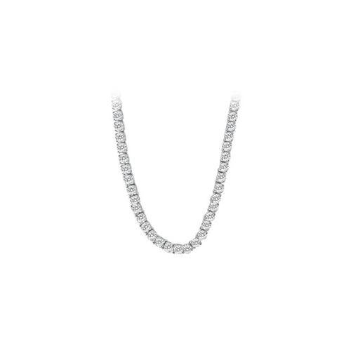 14K White Gold Diamond Eternity Necklace 16.00 CT TDW-JewelryKorner-com