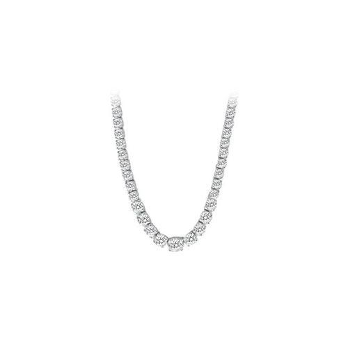 14K White Gold Diamond Eternity Necklace 17.00 CT TDW-JewelryKorner-com