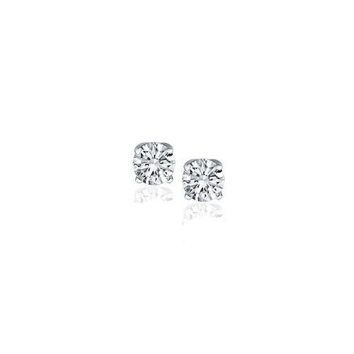 14K White Gold Diamond Four Prong Stud Earrings (1/4 c.t. tw.)-JewelryKorner-com