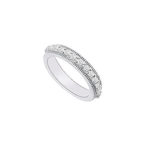 14K White Gold : Diamond Wedding Band 0.35 CT TDW-JewelryKorner-com