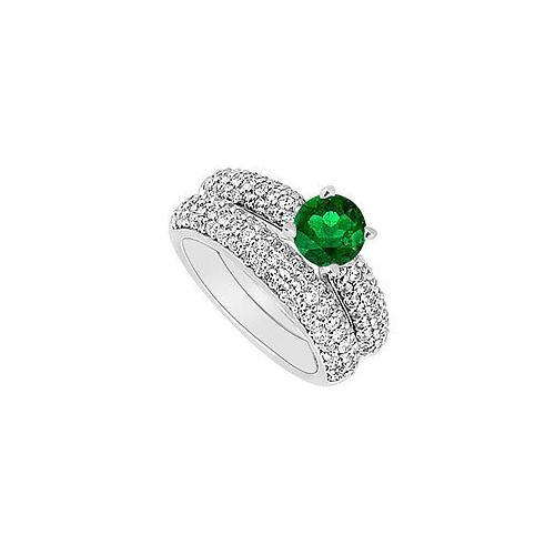 14K White Gold : Emerald and Diamond Engagement Ring with Wedding Band Set 1.80 CT TGW-JewelryKorner-com