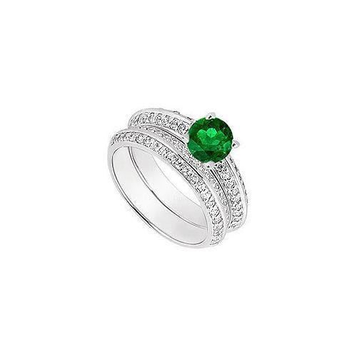 14K White Gold Emerald & Diamond Engagement Ring with Wedding Band Sets 1.00 CT TGW-JewelryKorner-com