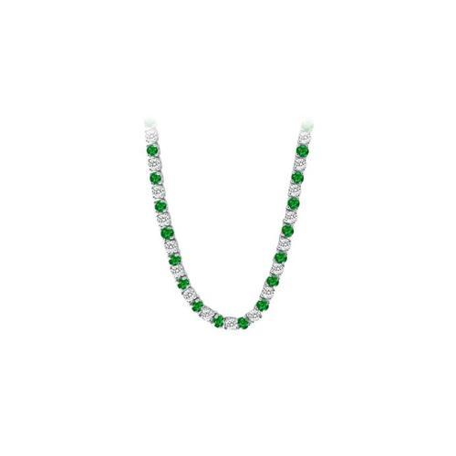 14K White Gold Emerald & Diamond Eternity Necklace 16.00 CT TGW-JewelryKorner-com